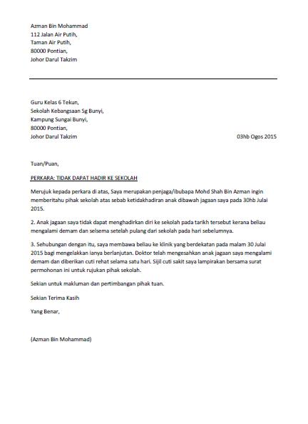 Contoh Surat Anak Tidak Dapat Hadir Ke Sekolah Letter Lettering