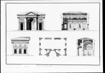 [?Plan, elevation and section of Garden Pavilions
