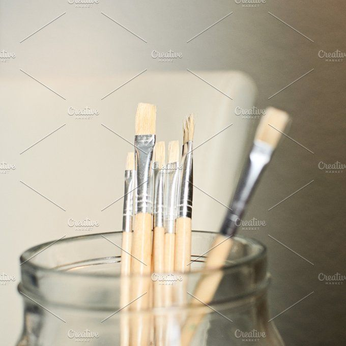Jar of Paint Brushes | Stock Image by TwigyPosts on @creativemarket