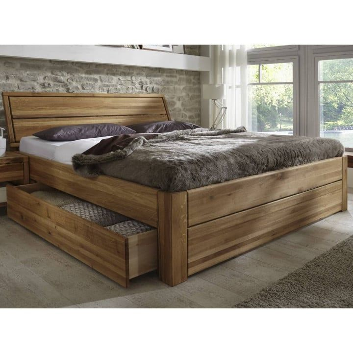 Komfortbett 180x200 cm Eiche massiv Bettkasten PickUp