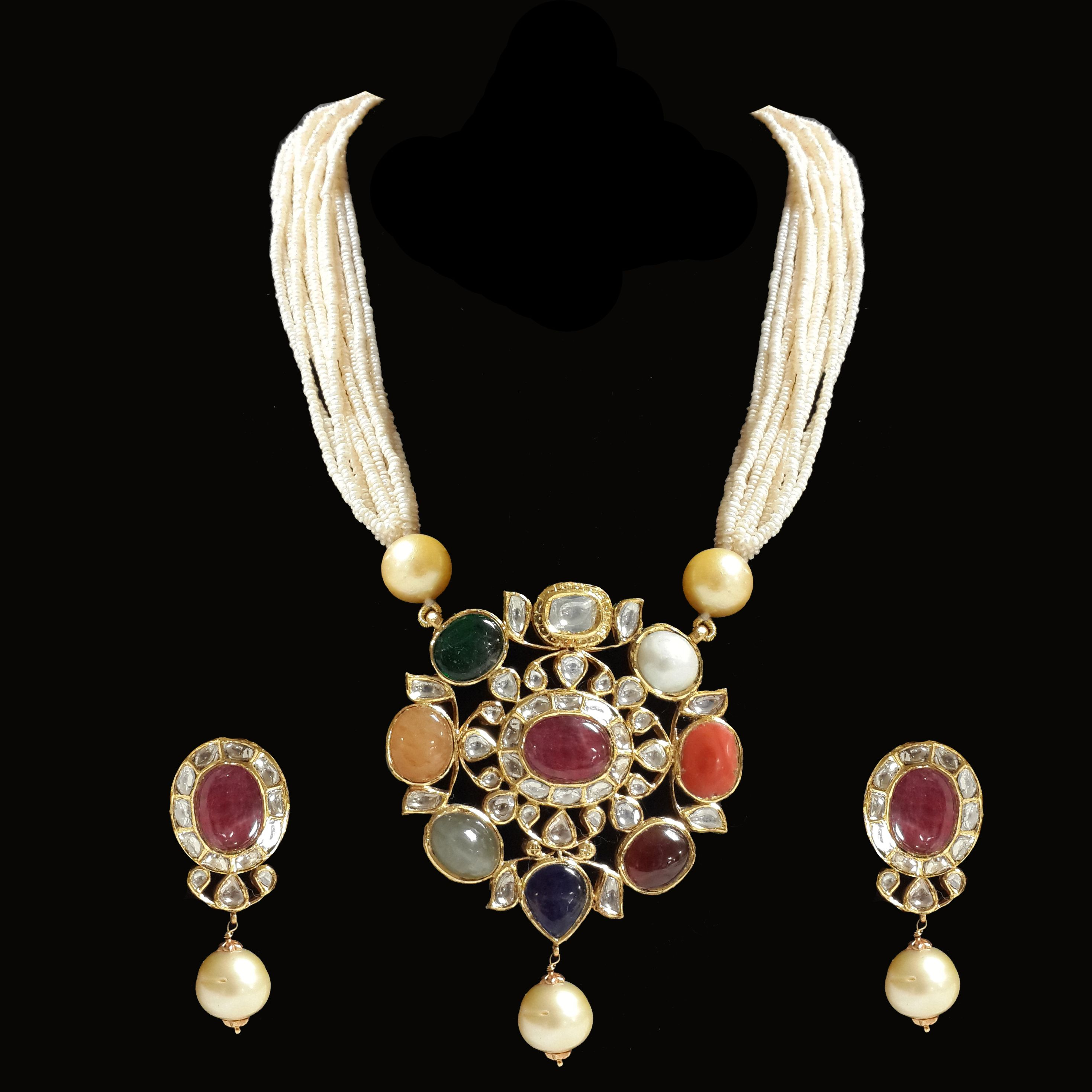 Jaipur jewellery online jadau navratan pendant u jadau jewellery