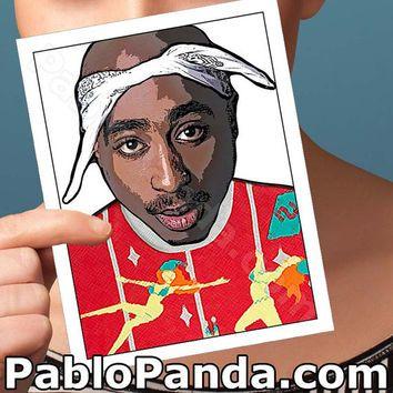 Hip Tupac Funny Rapper Christmas 2pac Ugly Sweater Hop Card Sq06vxh