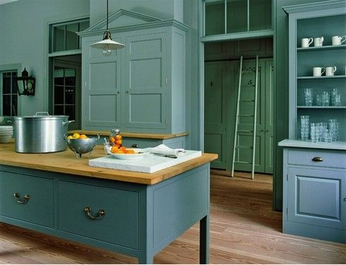 Modern Country Kitchen Blue love the green walls with blue cabinets | kitchen ideas