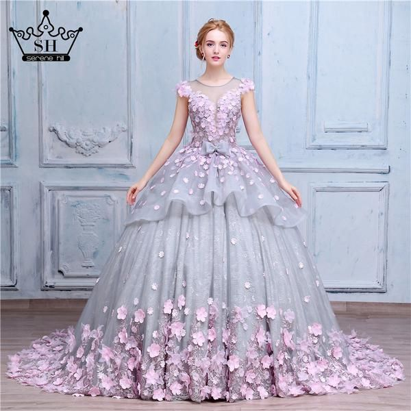d798db9f04d Luxury Ball Gown Wedding Dresses Online Princess Sweetheart Pink Prom  Evening Dress Handmade Made Flowers Court Train Bridal Gowns