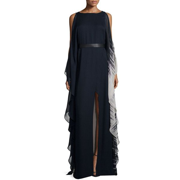 Halston Heritage Cold-Shoulder Ombre Caftan Gown ($495) ❤ liked on ...