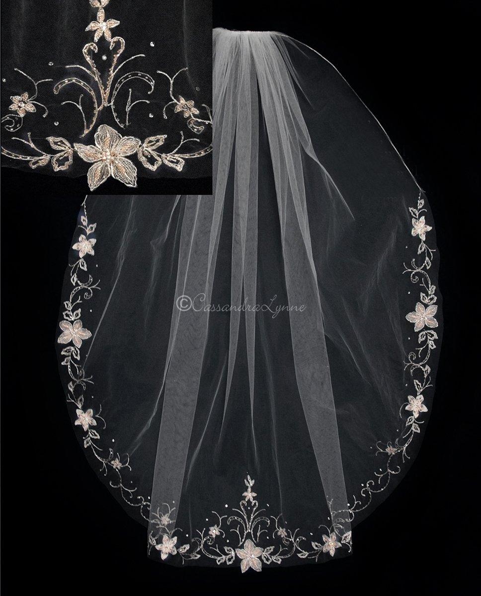 Ivory Flower Wedding Veil With Gold Beading Veil Crystal Rose Veil Bridal Beauty Timeline