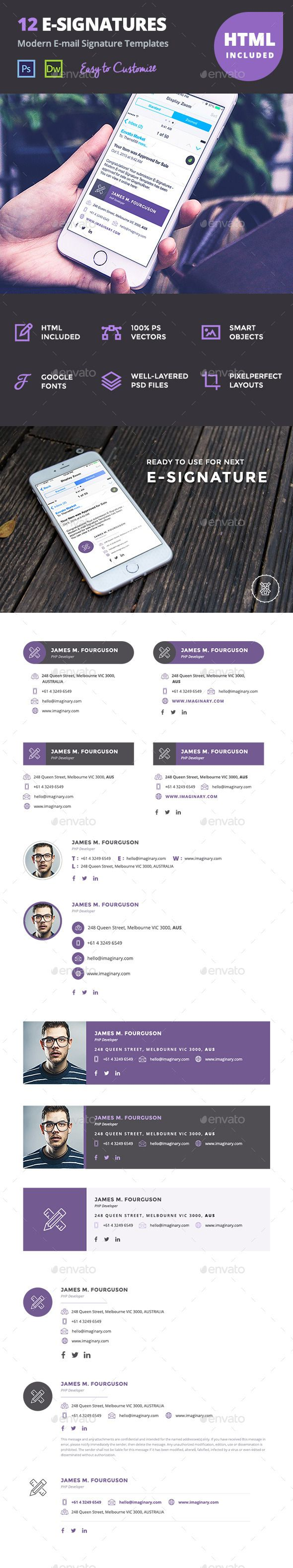 12 Professional Email Signature Templates — PSD Template