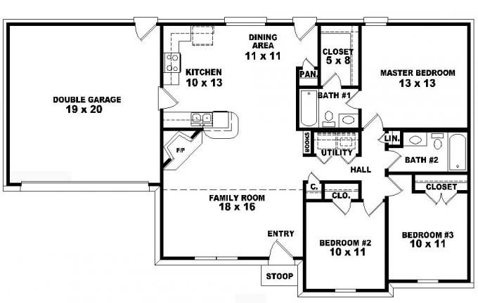 One story ranch style house plans one story 3 bedroom 2 for Three bedroom house layout