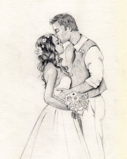 Custom Wedding Drawing From Your Photo Original Pencil Sketch Art From Picture