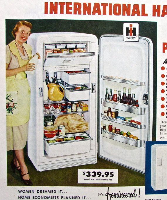 1950s REFRIGERATOR Print Ad Vintage International Harvester Fridge