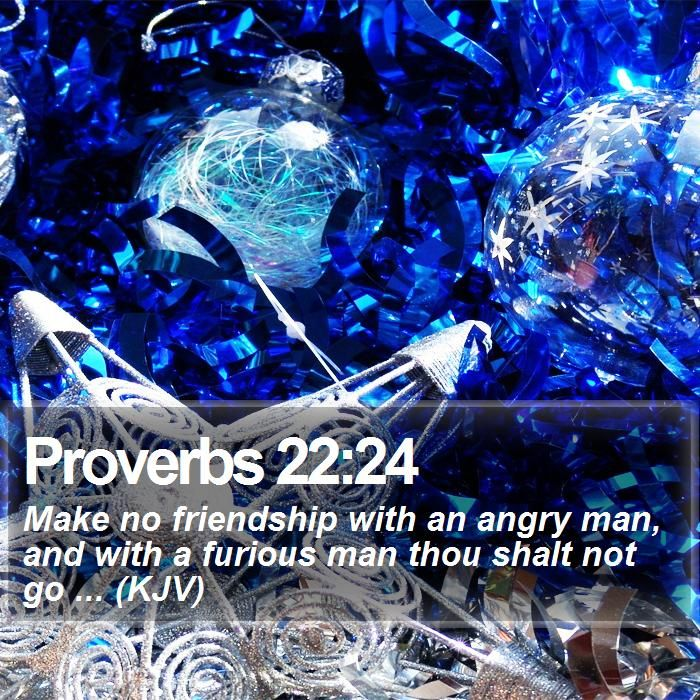 Proverbs 22:24 Make no friendship with an angry man, and with a furious man thou shalt not go ... (KJV)  #Meditation #Christian #Amen #Holy #Quote #TheWay #QuoteOfTheDay http://www.bible-sms.com/