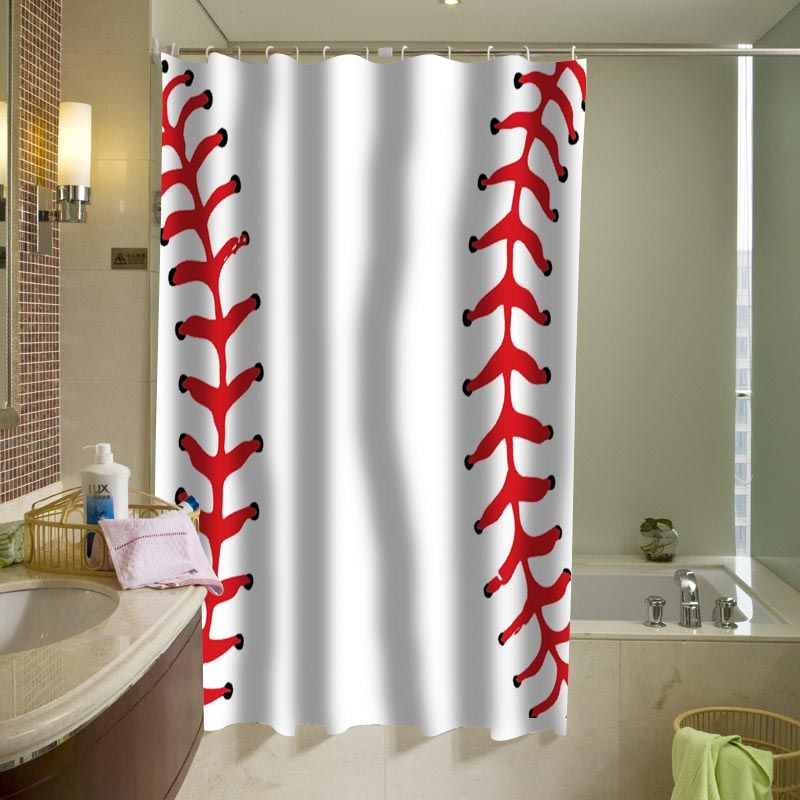 Ball Baseball Shower Curtain In 2019 Curtains Fabric Shower