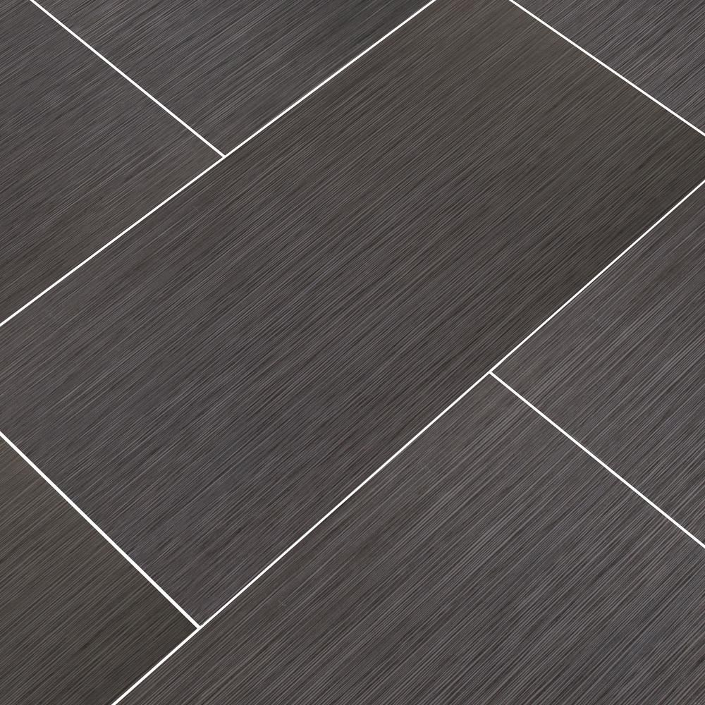 Msi Metro Charcoal 12 In X 24 In Glazed Porcelain Floor And Wall Tile 16 Sq Ft Case Nmetcha1224 In 2020 Grey Bathroom Tiles Flooring Tiles