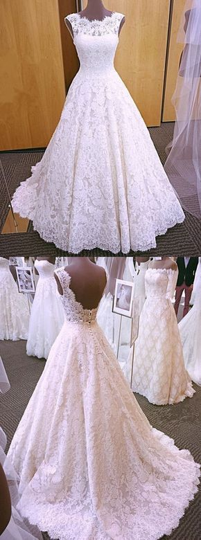 white lace appliques wedding dresses, bridal gowns with appliques by Hiprom, $22 #spitzeapplique