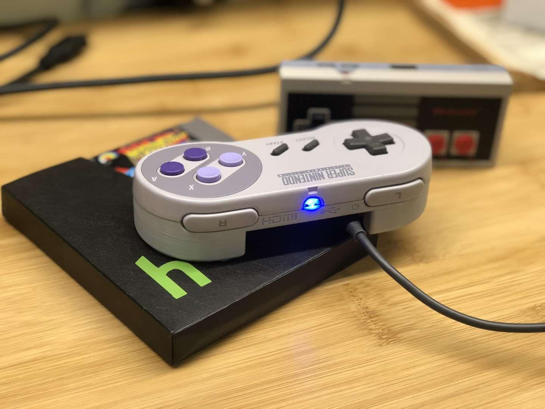 super gamepad zero retropie in an original super nintendo
