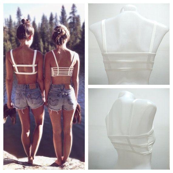 608ef5b90a NEW Woman's 3 Strap Strappy White Bra Bralette Lingerie Festival Beach  Preppy Fashion Wear