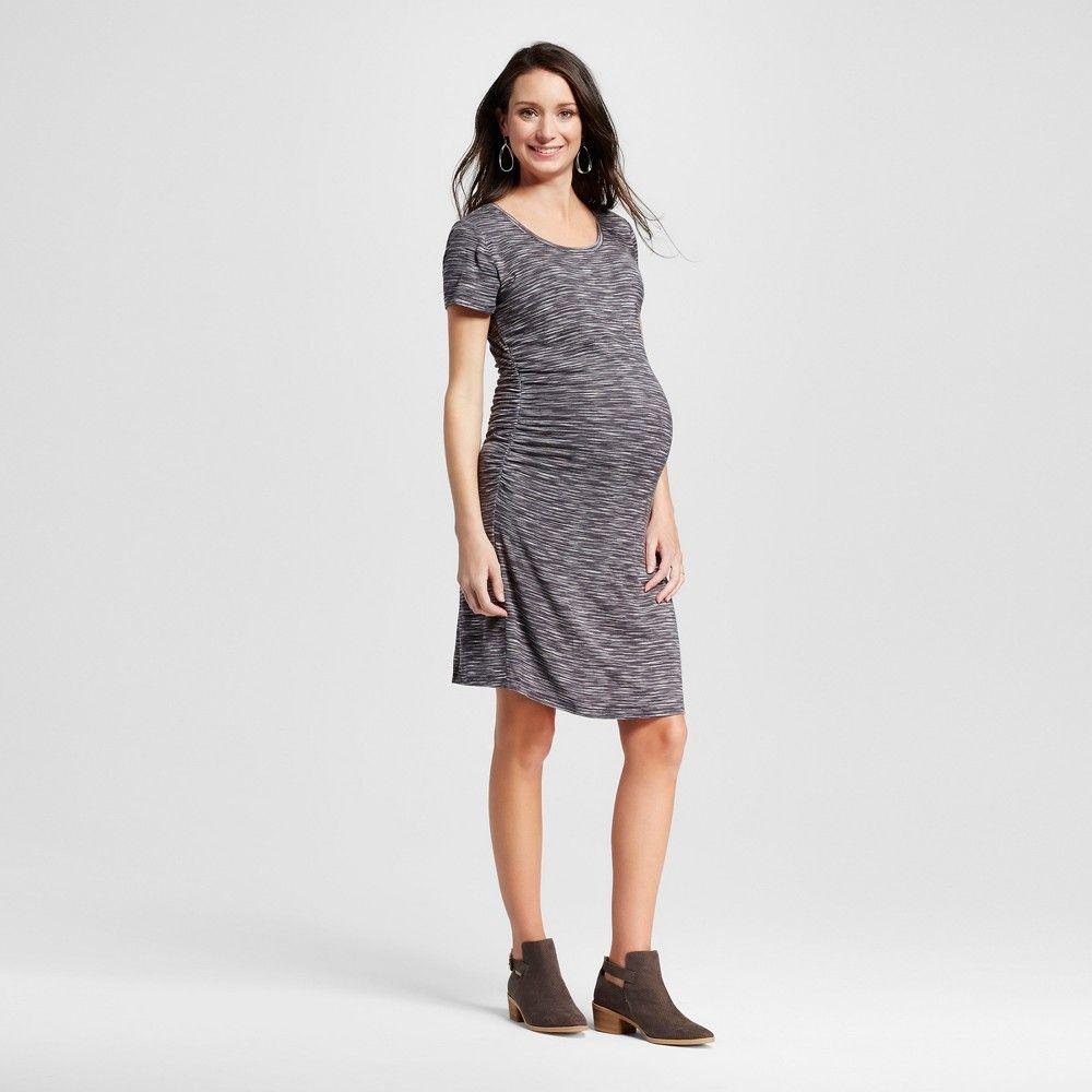 Maternity Body Con Textured Stripe Short Sleeve Tee Dress Railroad ...