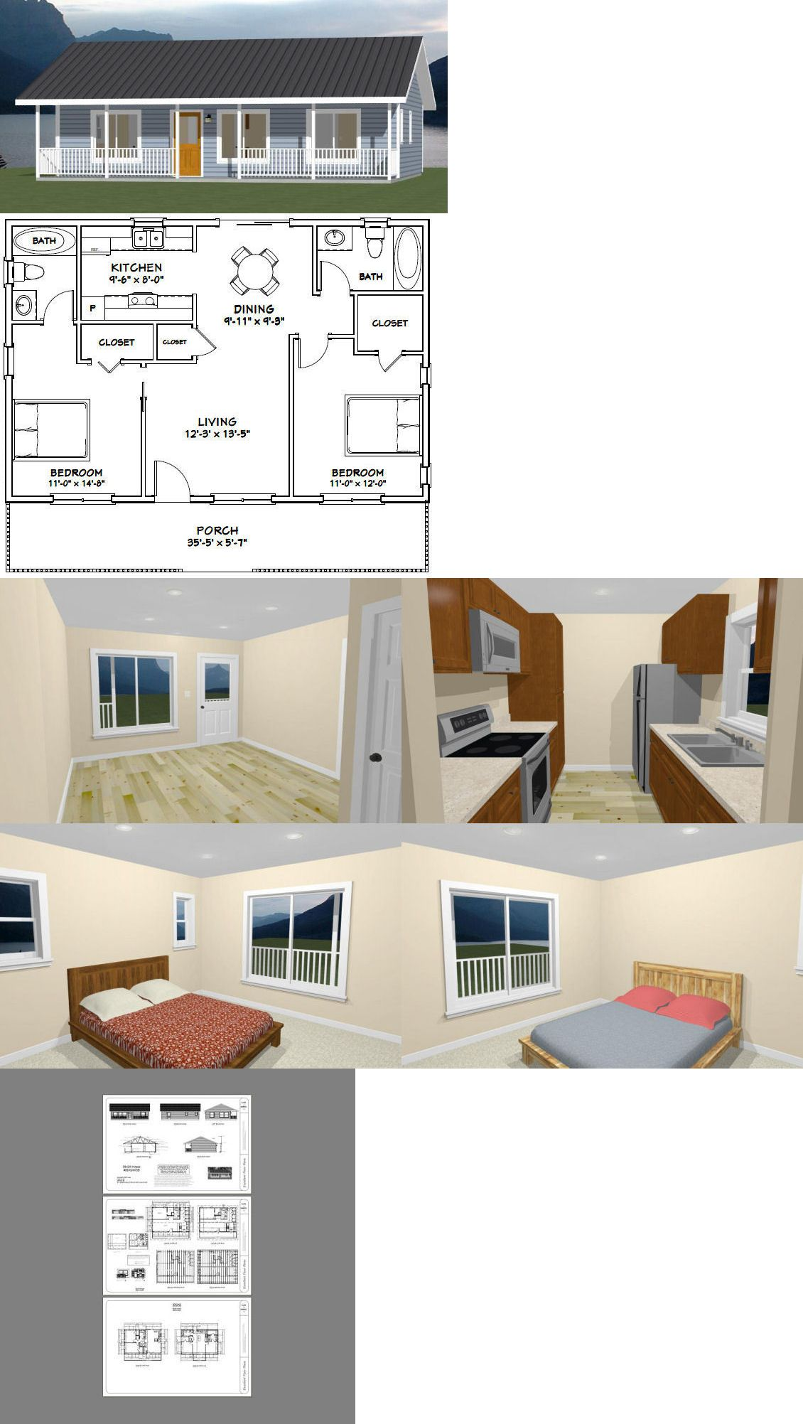 Building Plans And Blueprints 42130 36x24 House 2 Bedroom 2