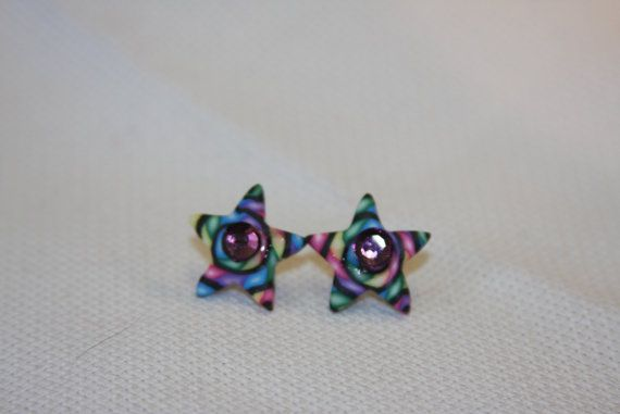 Wild fun star button pierced earrings purple by hudathotjewelry, $10.00