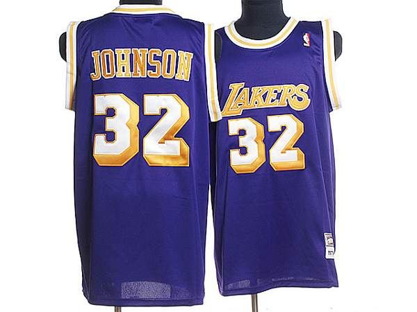 85095e87af9f Mitchell and Ness Lakers  32 Magic Johnson Stitched Purple Throwback NBA  Jersey