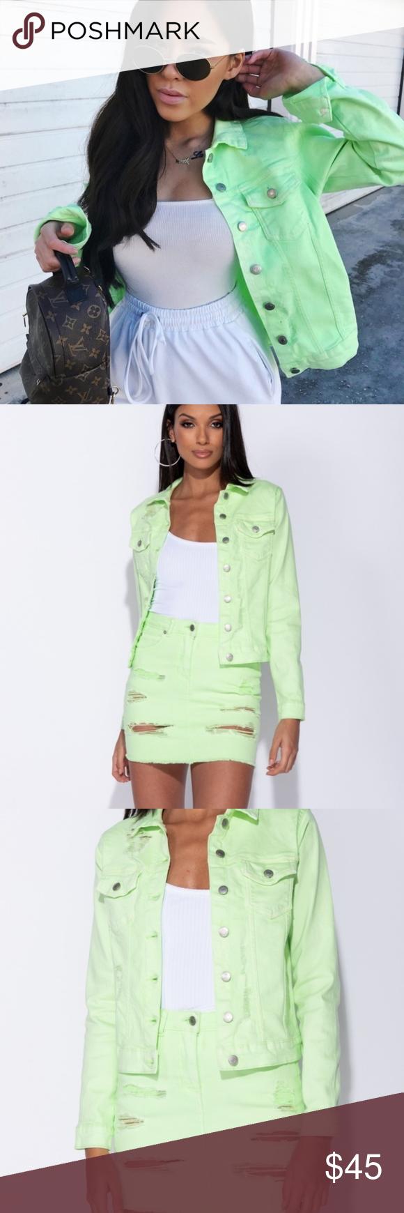 Trend Alert Neon Green Denim Jean Jacket Brand New Gorgeous Neon Lime Green Denim Jacket With Ripped Look Throu Denim Jean Jacket Chic Jeans Distressed Denim [ 1740 x 580 Pixel ]