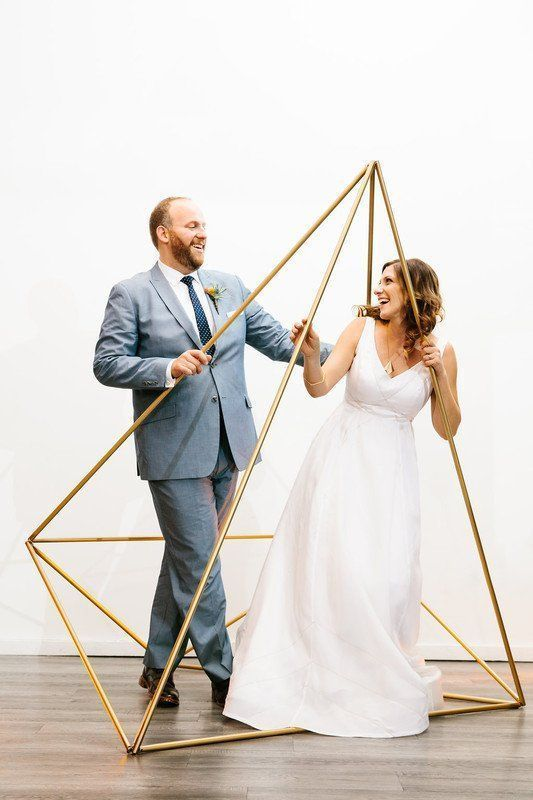 Modern wedding ceremony decor - gold, triangle ceremony ...