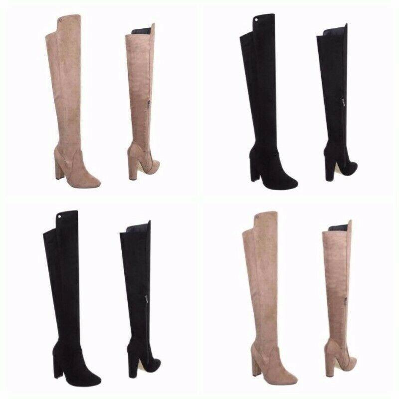 Dettagli su Scarpe donna stivali lunghi al ginocchio tacco basso scamosciati comodi