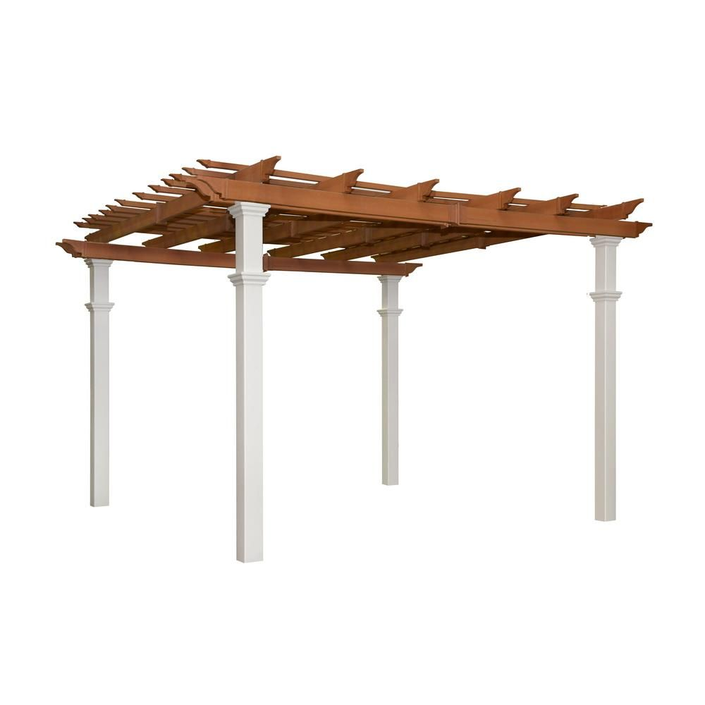 New England Arbors Bordeaux 10 Ft X 10 Ft Two Tone Vinyl Pergola Va84056 The Home Depot New England Arbors Pergola Outdoor Pergola