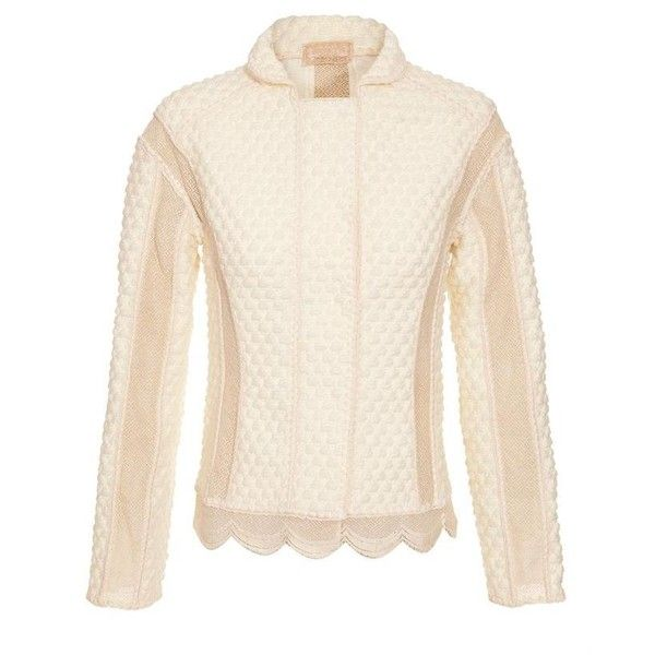 WORTH cream ivory Textured Wool-Blend Jacket With Lace Inserts ($995) ❤ liked on Polyvore