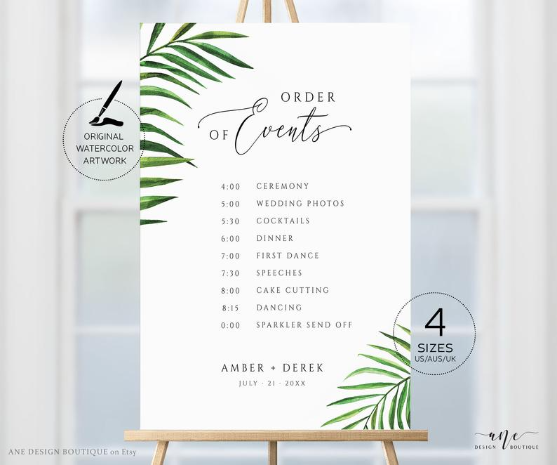 Tropical Wedding Order Of Events Sign Template Palm Leaf Etsy Wedding Order Of Events Tropical Wedding Wedding Order