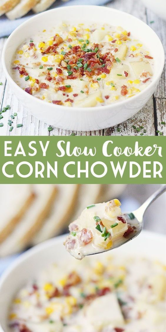 Easy Slow Cooker Corn Chowder | Half-Scratched -  Easy Slow Cooker Corn Chowder – Slow cooker corn chowder is easier than you think! Only 15 minute - #beetatto #chowder #cooker #Corn #crockpotrecipes #dinnerrecipes #Easy #foottatto #HalfScratched #healthyrecipes #paleorecipes #recipeseasy #scratched #Slow #tattofamily
