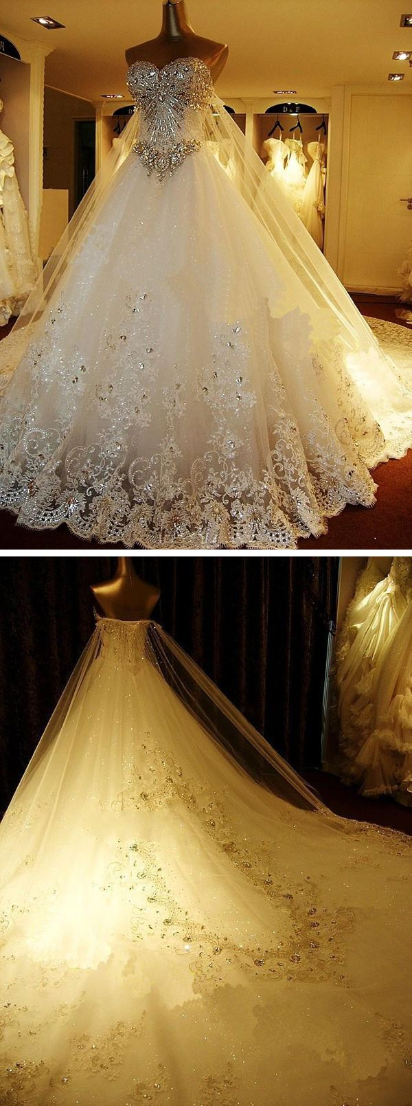 Beaded Luxury Wedding Dress With Looooong Trains!!! Click the link to get it!