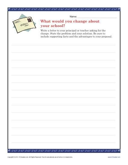 School Change Letter  Persuasive Writing Prompts Writing Prompts