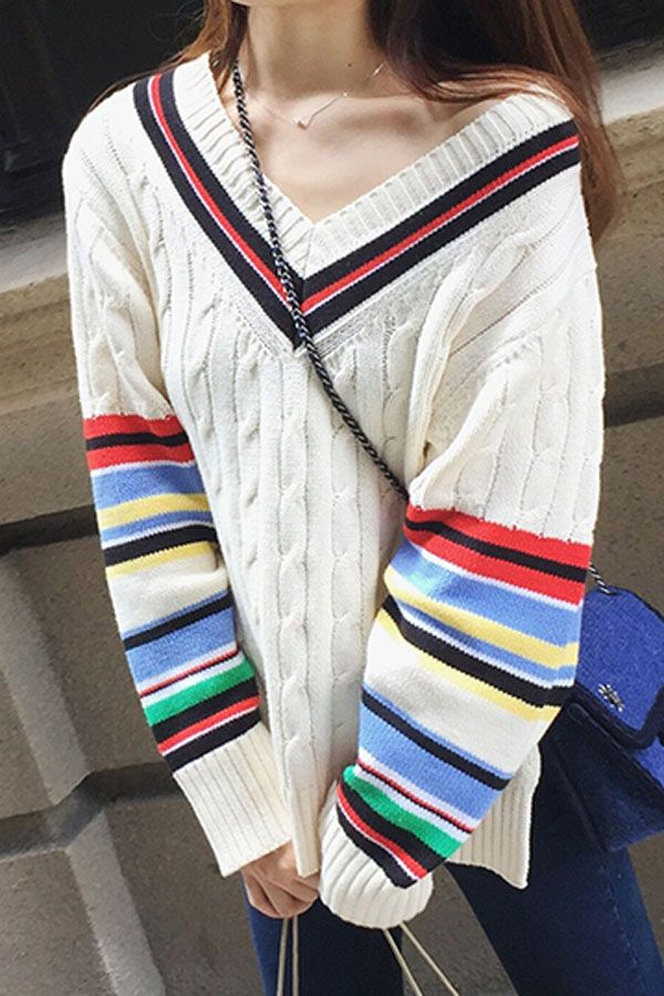 8cc5d93aa8d Striped Cable Knit Women Cricket Jumper