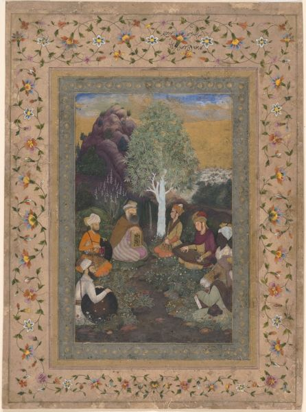 Prince Dara Shikoh and Mullah Shah, Accompanied by Five Retainers, in Kashmir