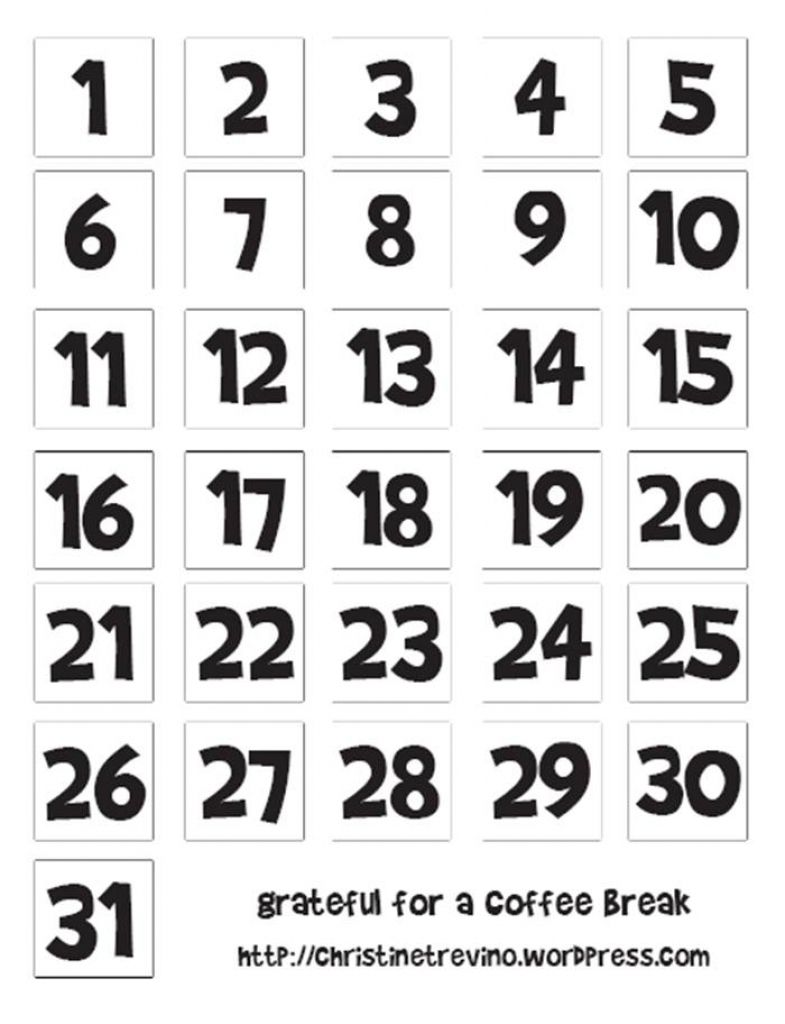Free Printable Calendar Numbers 1 31 Pdf Printable Calendar Numbers Calendar Numbers Classroom Calendar