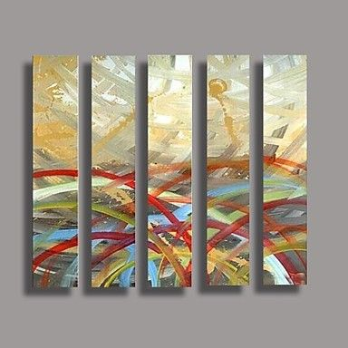 Hand Painted Oil Painting Modern Abstract with Stretched Frame Set of 5 2015 – $159.99