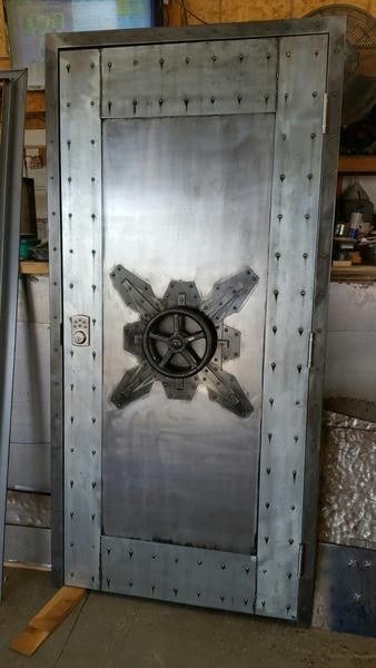 #027F - Custom Vintage Industrial Faux Vault Door • Industrial Evolution Furniture Co #vintageindustrialfurniture