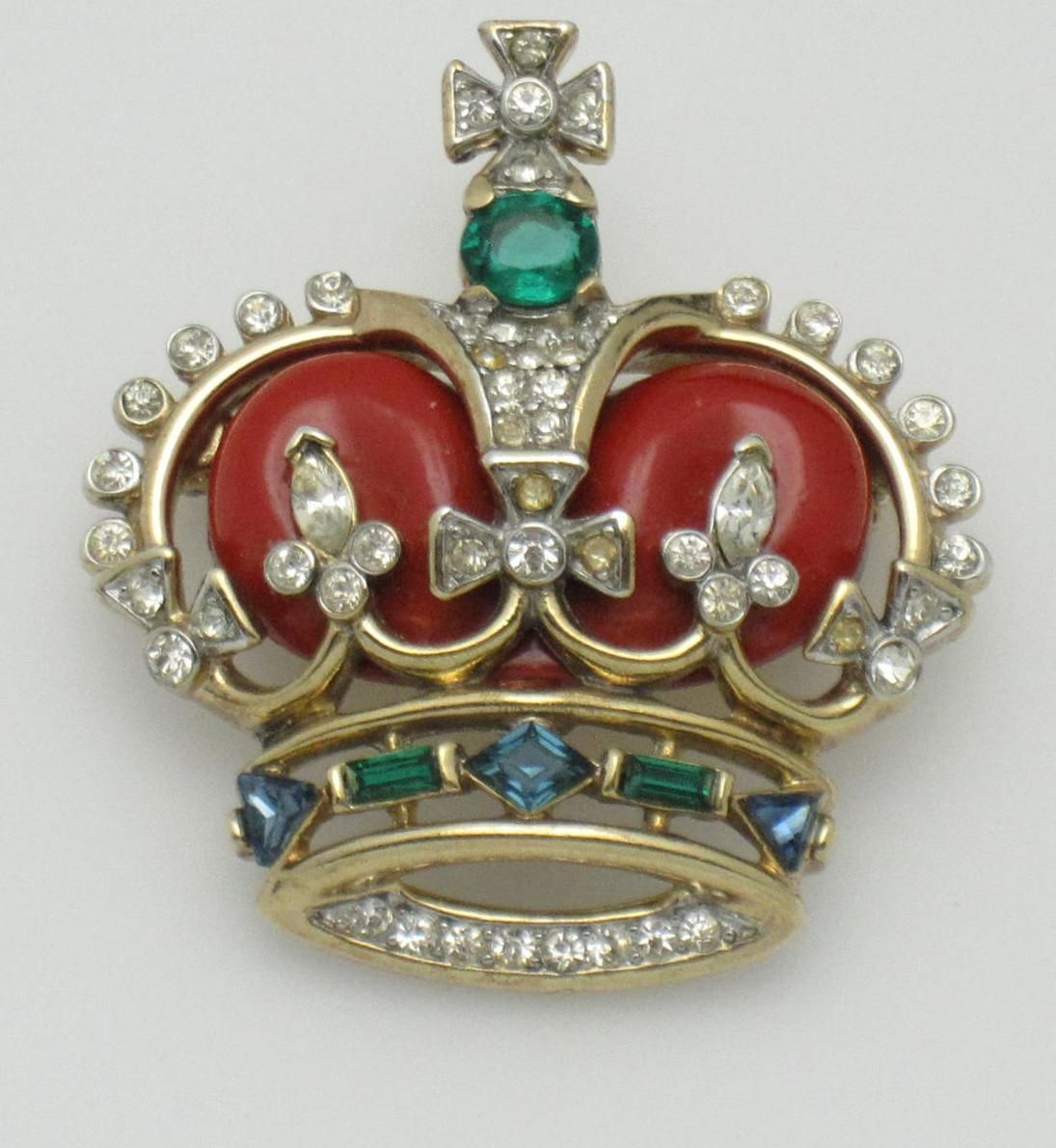 e5a6236c1c CROWN TRIFARI Coronation Jewels Figural Crown Brooch Pin Vintage ...