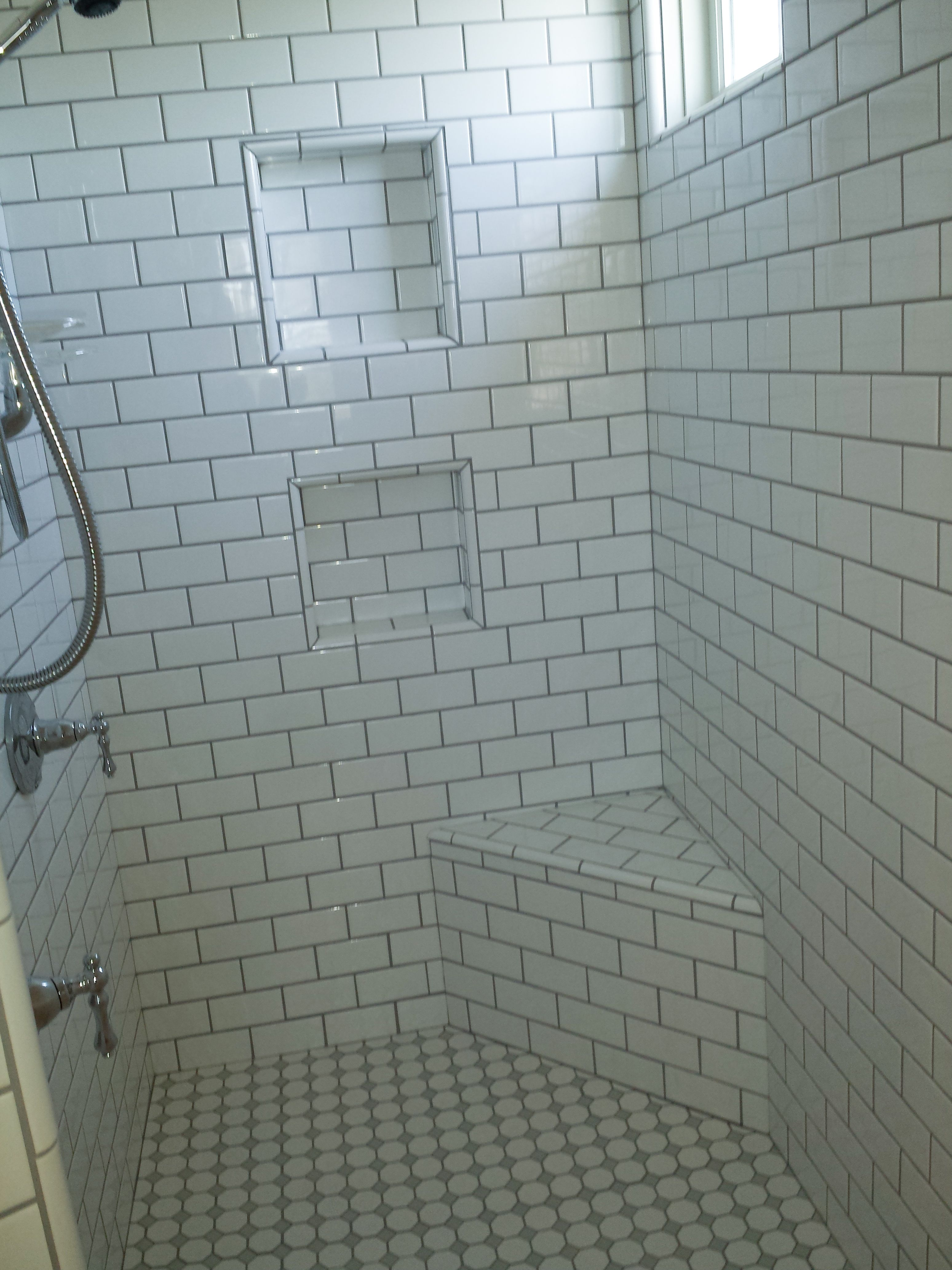 white subway tile with grey grout - seat and niches in shower | DIY ...