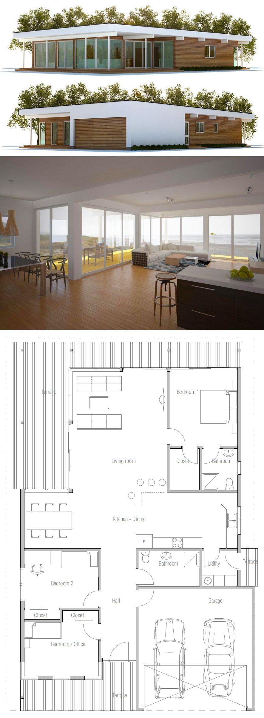 Modern Minimalist House Plan   План дома, Архитектура ...
