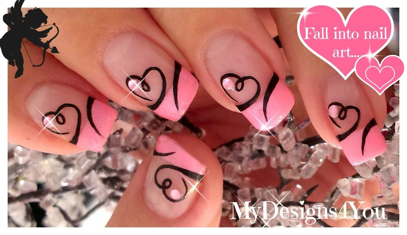 Easy Valentine\'s Day Nail Art | Cute Heart French Tip Nails ...