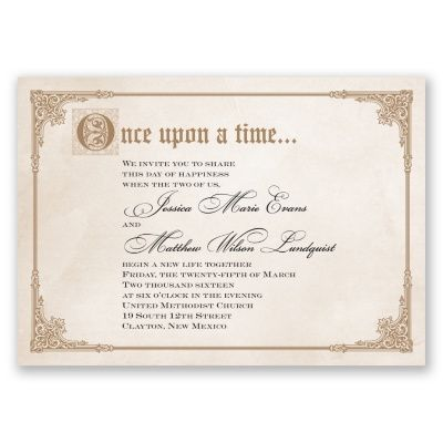 Storybook Fairy Tale wedding invitation gold happily ever after