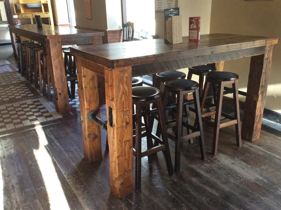 pub table gas pipe barn wood barn beam barnwood crafts in 2019 pinterest table barn. Black Bedroom Furniture Sets. Home Design Ideas