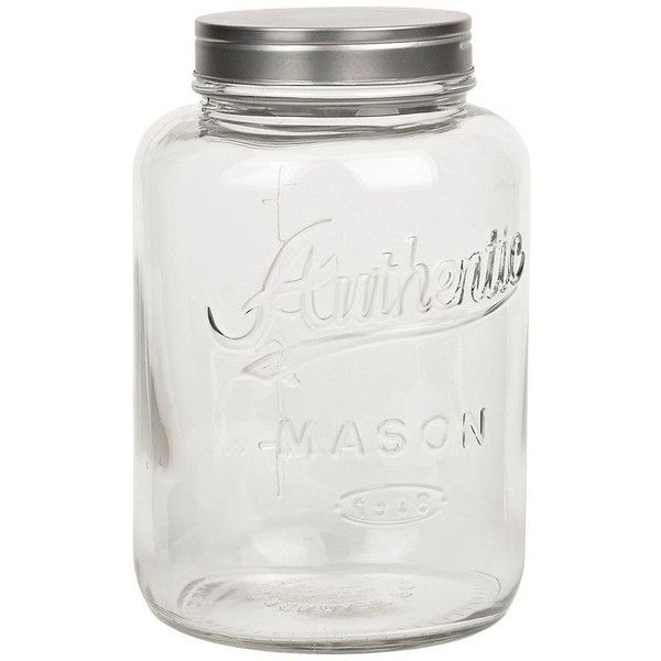Add some southern storage to your kitchen with this Glass Mason Jar Canister! It can hold up to three liters of your favorite goodies or ingredients in ...  sc 1 st  Pinterest & Glass Mason Jar Canister (£7.29) ? liked on Polyvore featuring home ...