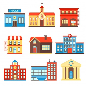 Download Government Building Icons Set Of Police Shop Church Isolated Vector Illustration For Free Building Icon Building Illustration Icon Set