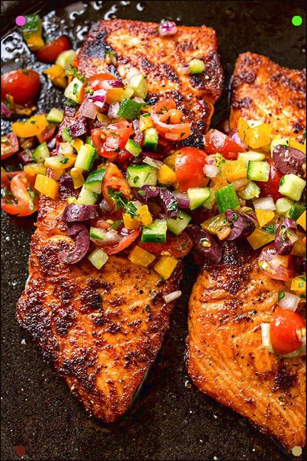 Pan Seared Salmon With Mediterranean Salsa Fresca And Toasted Couscous #searedsalmonrecipes