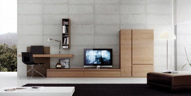 Salones mueble sal n con oficina incorporada acabado en chapa nogal ref sal23 mobelinde - Fabrica muebles barcelona ...