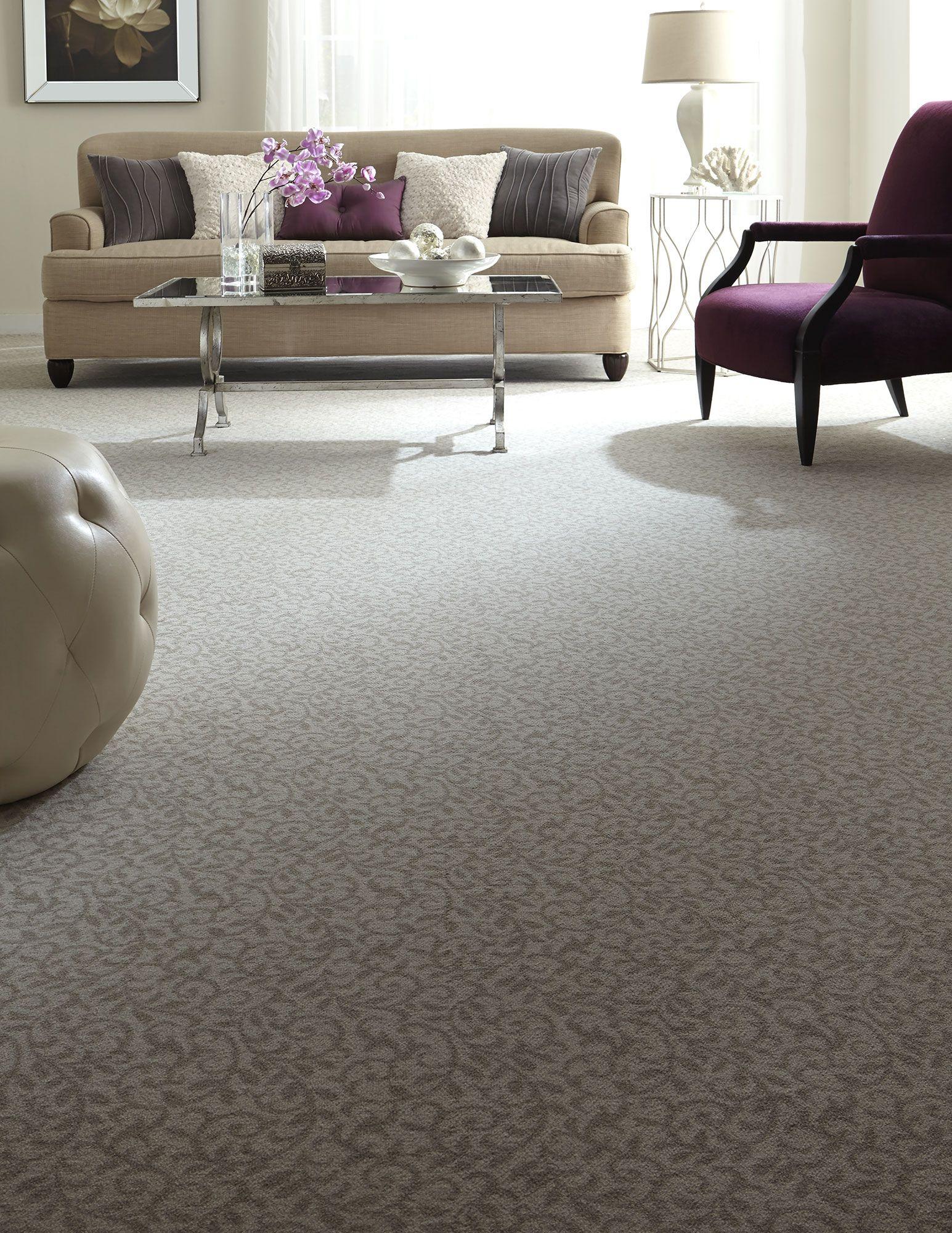 vine patterned carpet | neutral flooring | living room ideas