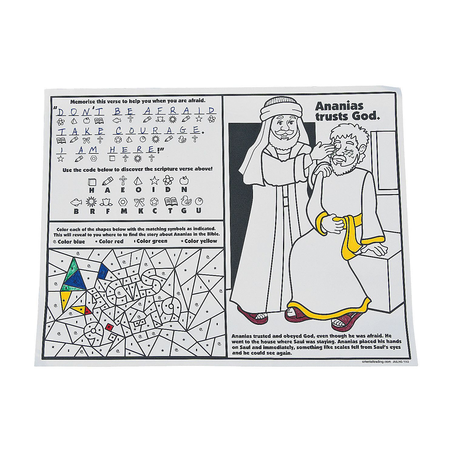 Ananias Helps Saul Activity Sheets